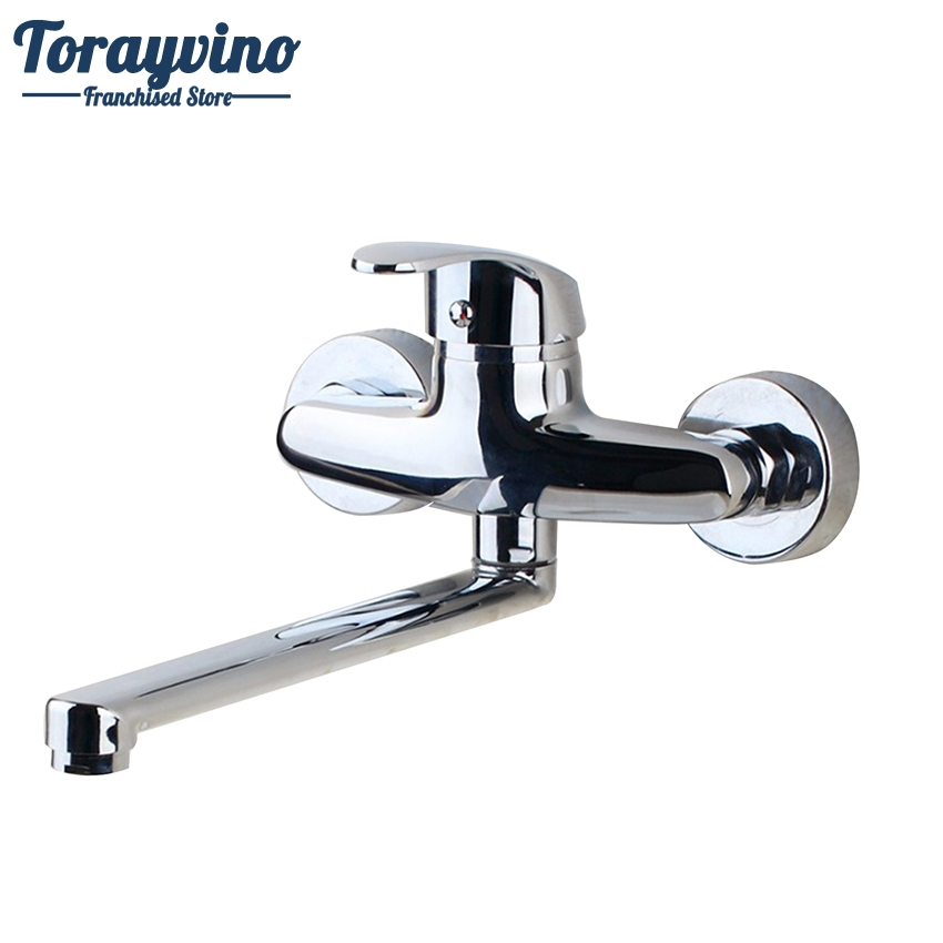 Torayvino Bathroom Faucets Chrome Finished 360 Swivel Single Handle Faucet Wash Basin Mixer Sink Tap Power Wall Mounted Faucet chrome finished floor mounted swivel spout bathroom tub faucet single handle mixer tap