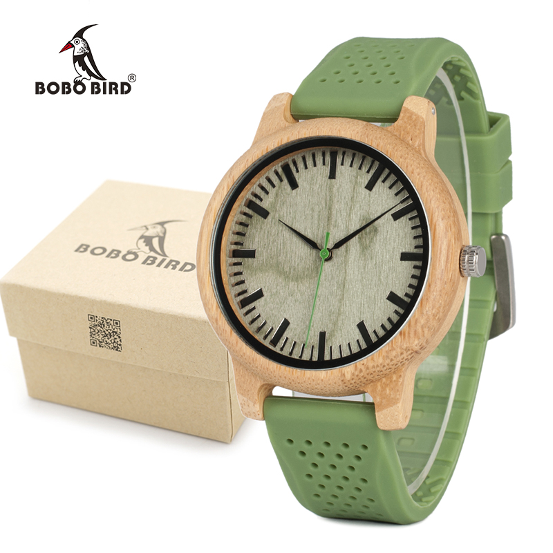 BOBO BIRD Men's Fashion Bamboo Wood Watches With Soft Silicone Straps Quartz Movement Watch Women in Gift Boxes LaB06 bobo bird l b08 bamboo wooden watches for men women casual wood dial face 2035 quartz watch silicone strap extra band as gift