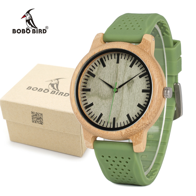 BOBO BIRD Men's Fashion Bamboo Wood Watches With Soft Silicone Straps Quartz Mov