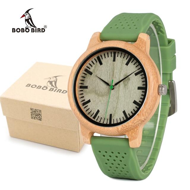 BOBO BIRD Men's Fashion Bamboo Wood Watches With Soft Silicone Straps Quartz Mov