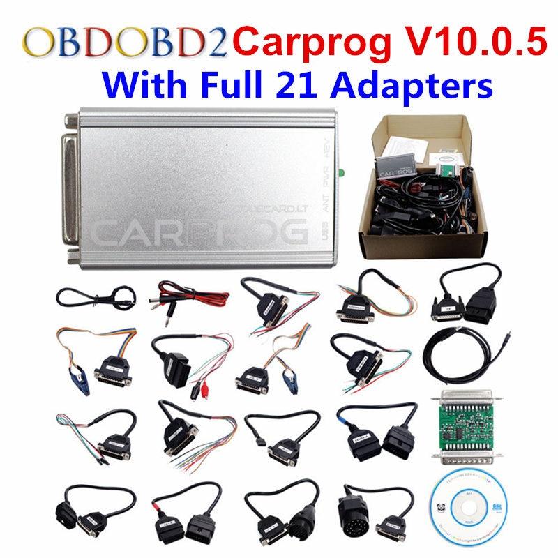 2017 Newest Carprog V10.0.5 Full 21 Adapters Car Prog 10.0.5 ECU Chip Tuning V10.05 ECU Programmer Airbag Reset Tool Free Ship