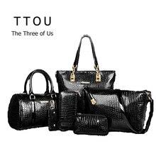 6 Teile/satz Luxus Tasche Handtasche Schultertasche Tote KeyWallet PU Leder Entwickelt Top-griff Tasche Für Frauen Weibliche Messenger tasche TTOU
