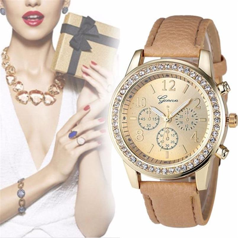 2018 Fashion Rhinestone Watch Women Analog Quartz Clock Watch Beige Leather Band Female Ladies Wrist Watches Relogio Feminino