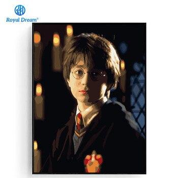 Harry Potter Filme Cartaz Pintados À Mão Sobre Tela de Pintura Por Números Kits Imagem DIY Pintura A Óleo Decoração Da Sua Casa