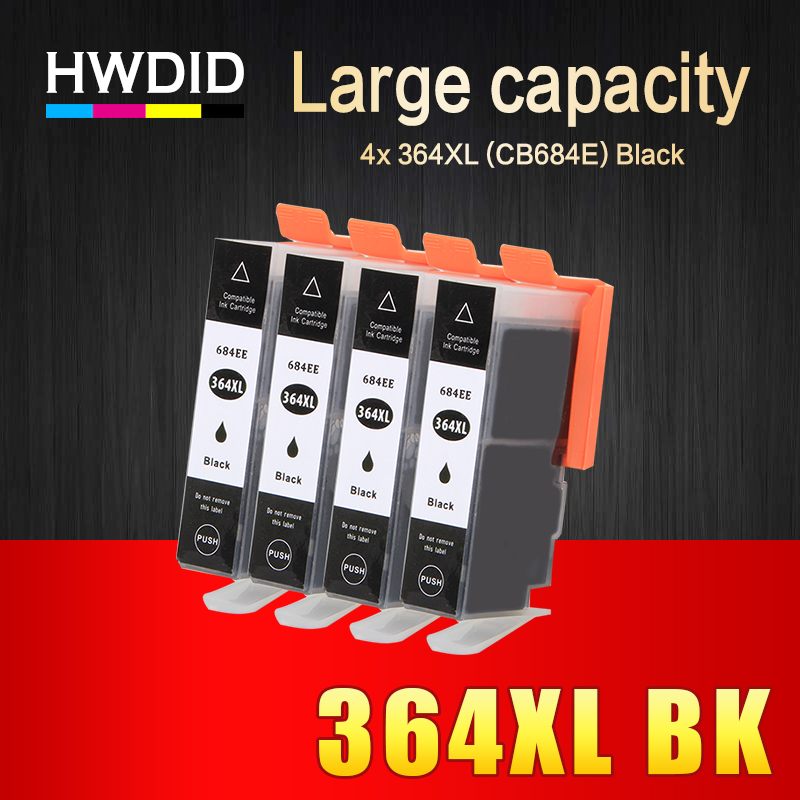 HWDID 4Pcs 364XL Black Compatible Ink Cartridge Replacement for HP 364 xl for Deskjet 3070A 5510 6510 B209a C510a C309a Printer hwdid 56xl 57xl ink cartridge compatible for hp 56 57 c6656a c6657a deskjet 450ci 5550 5552 7150 7350 7000 2100 220 printer