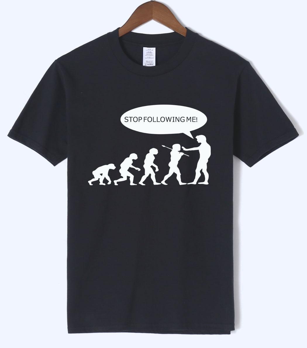 Funny T-Shirts Stop Following Me, Caveman Printed T-Shirts 2018 Summer Harajuku Mens T Shirts 100% Cotton Short Sleeve T-Shirts