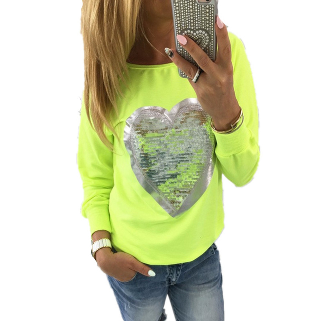 Hot Sale 2017 Fashion Spring casual women t-shirt sequin love heart tops shape cute pink t-shirt long sleeve clothing