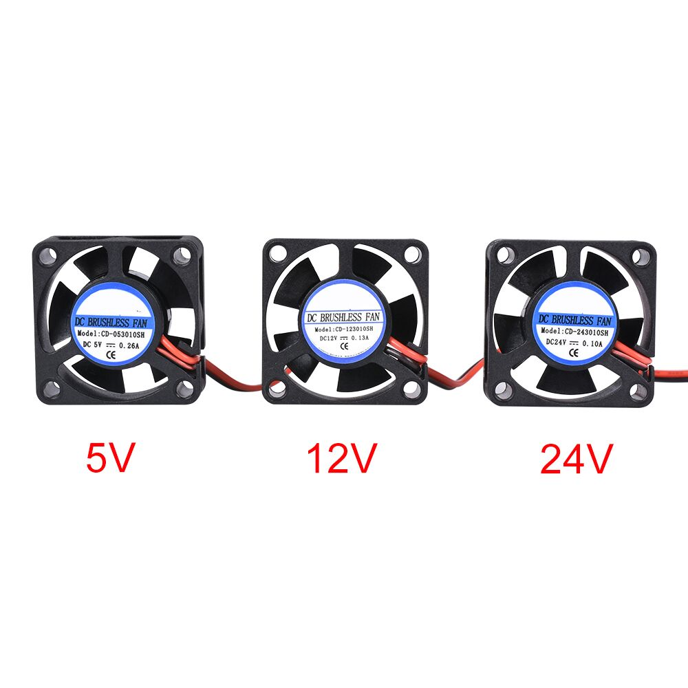 DC 5V 12V 24V 3010 Fan Cooling Brushless Mini Fan 30*30*10MM Cable 17CM 2Pin Radiator Black For 3D Printer Parts Reprap trianglelab radiator fan cover fan duct for e3d radiator for hotend radiator fan bracket for 3d printer accessory for volcano