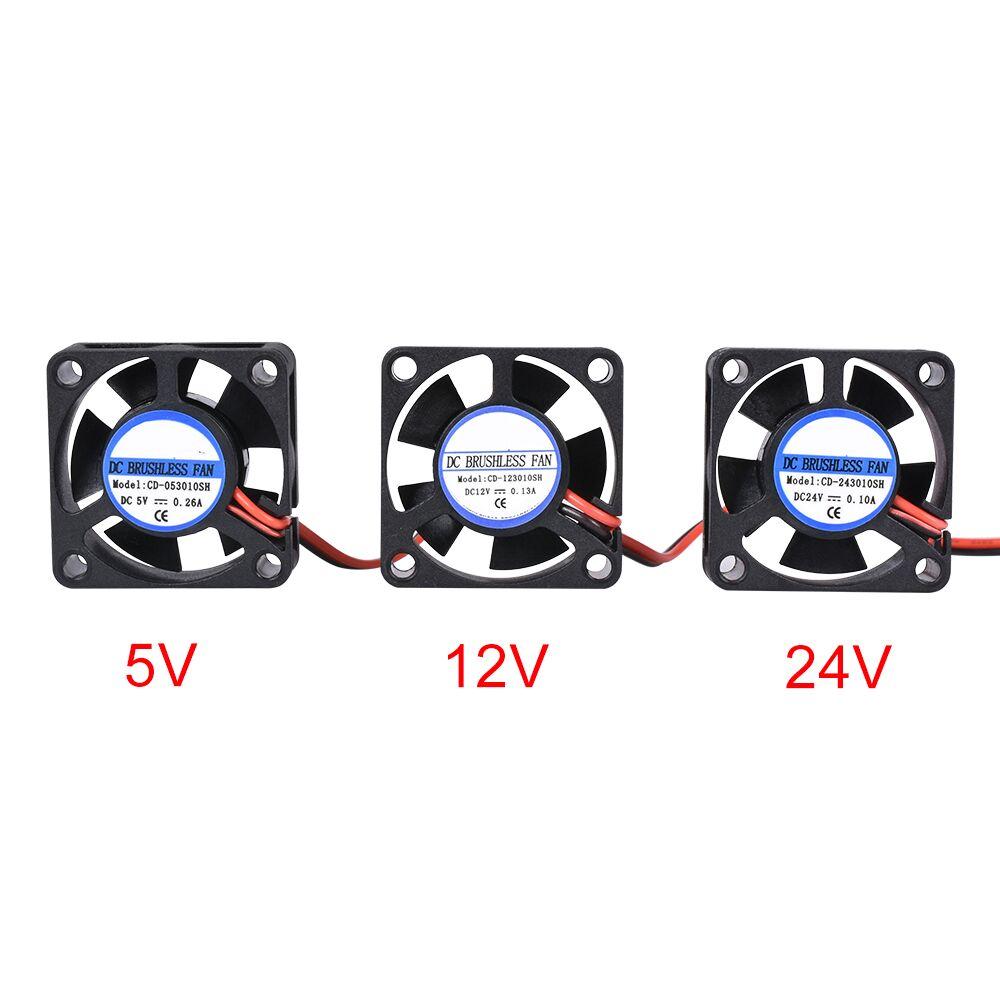 Мини-вентилятор постоянного тока 5 в 12 В 24 В 3010, безщеточный мини-вентилятор 30*30*10 мм, кабель 17 см, 2-контактный радиатор, черный для деталей 3D-п...
