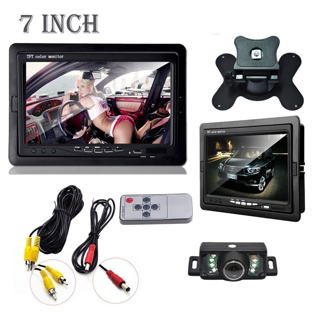 2016 New Car Rearview Monitor Rearview Backup Camera System 7 TFT LCD Screen Nightvision Car Accessories