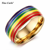 Gay Rainbow Plated Ring 8MM Stainless Steel Polishing Inner Gay Pride Parade Rings LGBT Rings Accessory SIZE 7~12 PR-1020