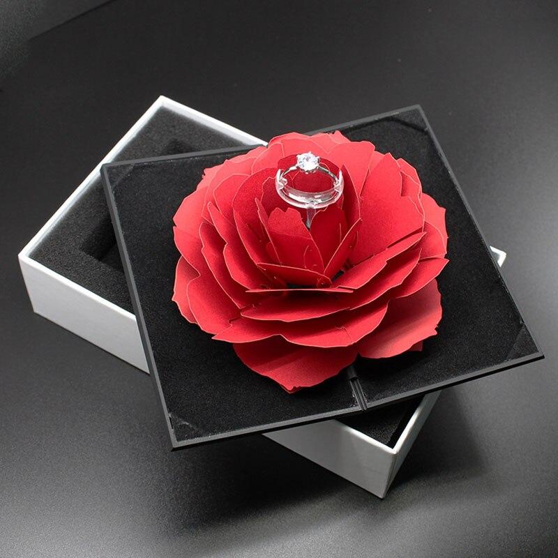 Boîtes À Bijoux Affichage Mode De Rotation Rose Anneau D'anniversaire Mariage Table Blanc Boîte à Bijoux De Pliage bijoux d'affichage boîte