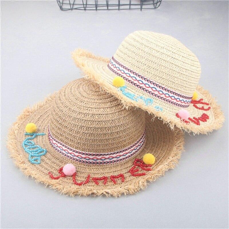 أزياء الأطفال الصيف الرافية القش قبعة السفر قبعة الشمس لفتاة الحلي المصنوعة يدويا واسعة بريم بنما القبعة للأطفال