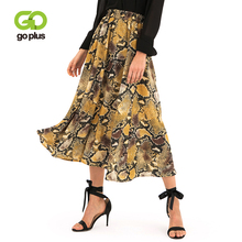 GOPLUS Sexy Snake Print Pleated Skirts Women High Waist A-Line Midi Skirt Ladies 2019 Fashion Summer Vintage Party Skirts Female цена 2017