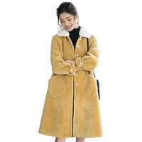 Spring 2019 Vintage Long Women Winter Coat Single Breasted Thick Warm Fur Mink Hair Collar Real Wool Cashmere Overcoat QH001