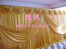 2015 NEW Designed Wedding Backdrops with luxurious Gold Swag for Wedding Decorations 3m*6m wedding stage curtain