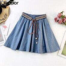 Vintage Lace Up Women Mini Skirts High Elastic Waist Short Blue Cotton Skirt A Line Jeans Solid Female Girl Skirts Denim Skirt