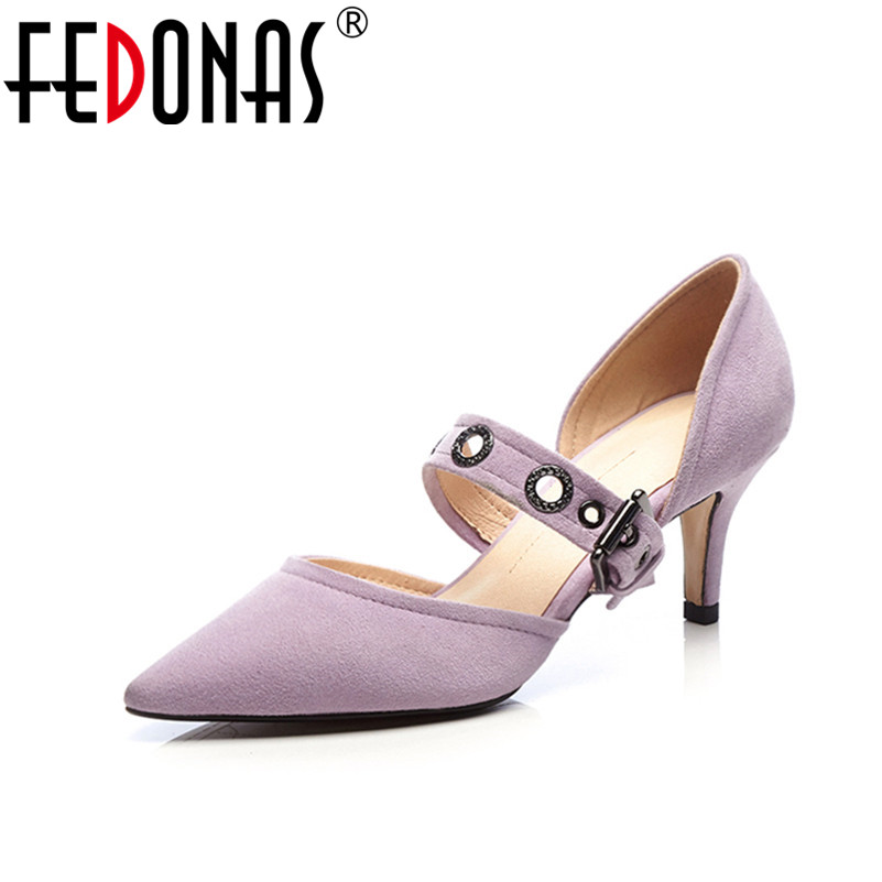 цена FEDONAS New Women Pumps 2018 Mary Jane High Heels Sexy Pointed Toe Slip-on Wedding Party Shoes For Lady Buckles Female Pumps