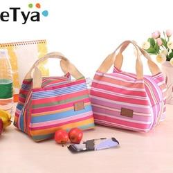 ETya изолированная сумка для обеда, Термосумка-тоут в полоску, сумка-холодильник для пикника, еды, Ланч-бокс, сумка для детей, женщин, девочек, д...
