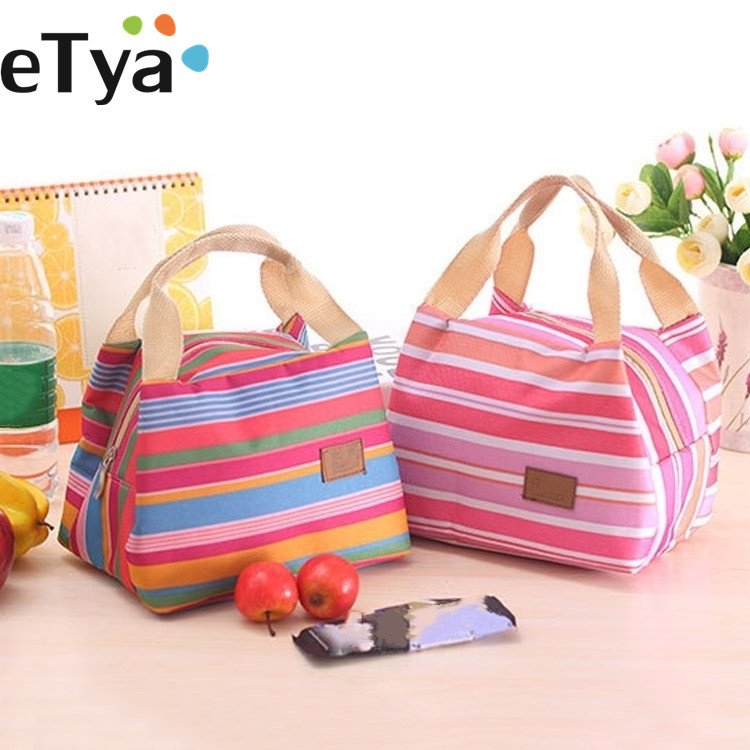 eTya  Insulated Lunch Bag Thermal Stripe Tote Bags Cooler Picnic Food Lunch box bag for Women Girls Ladies Kids Children lunch bag neoprene large gourmet lunch tote insulated waterproof lunch bags with zipper cooler handbag for women kids baby girls