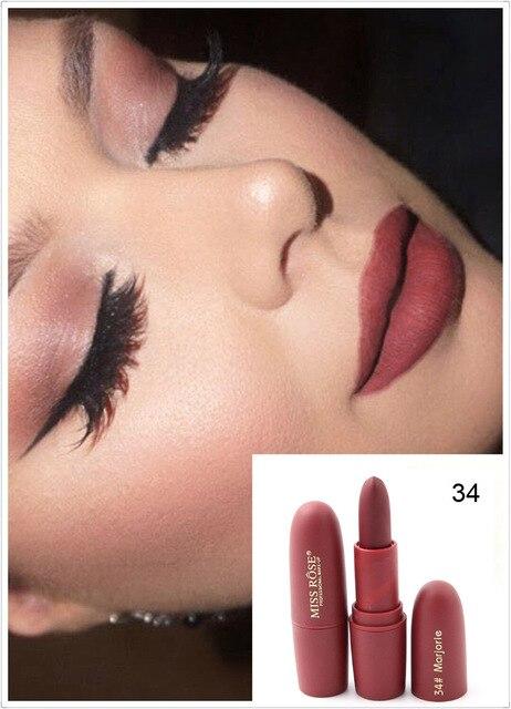 New Sexy Red Lips Matte Velvet Lipstick Pencil Cosmetic Long Lasting Lip Tint Pigment Makeup Nude Brown Lipstick Matte Lip stick 3