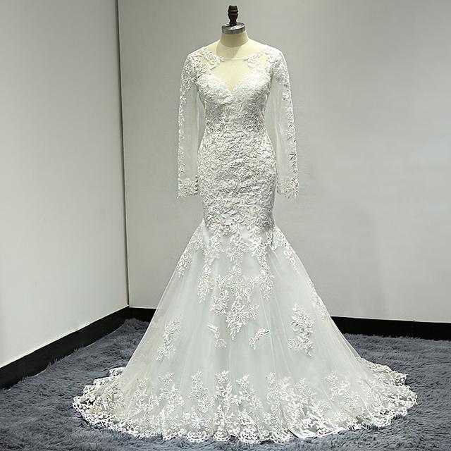 wuzhiyi mermaid wedding dress Long wedding Gown Cap Sleeve gown Sccop lace trumpet Beading dress robe de mariee