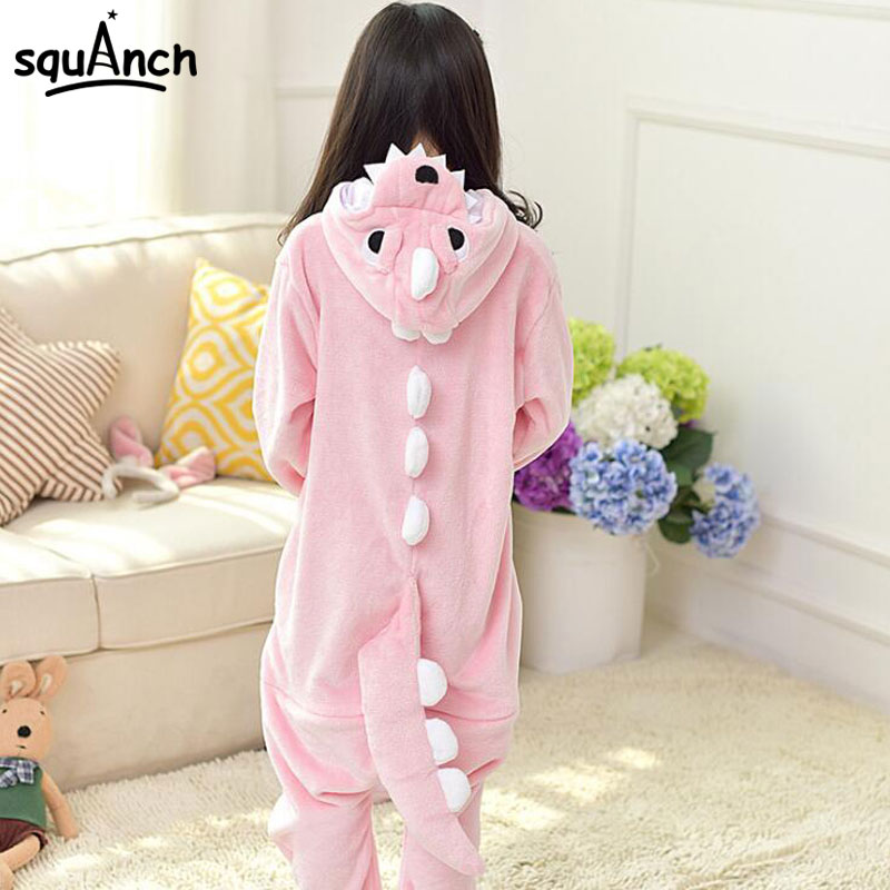 Girls Dinosaur Pajama Onesie Pink Animal Cosplay Costume Funny Warm Soft Sleep Jumpsuit Kid Cartoon Holiday Birthday Party Suit