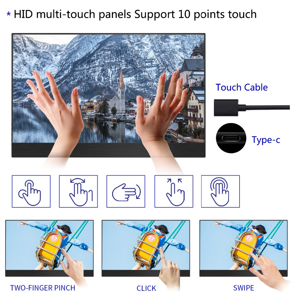 WIMAXIT TouchScreen Portable Monitor 15 6Inch Ulta slim 1920x1080 16 9 Display Type C USB C Monitor Compatible with Laptop etc in Monitor from Consumer Electronics