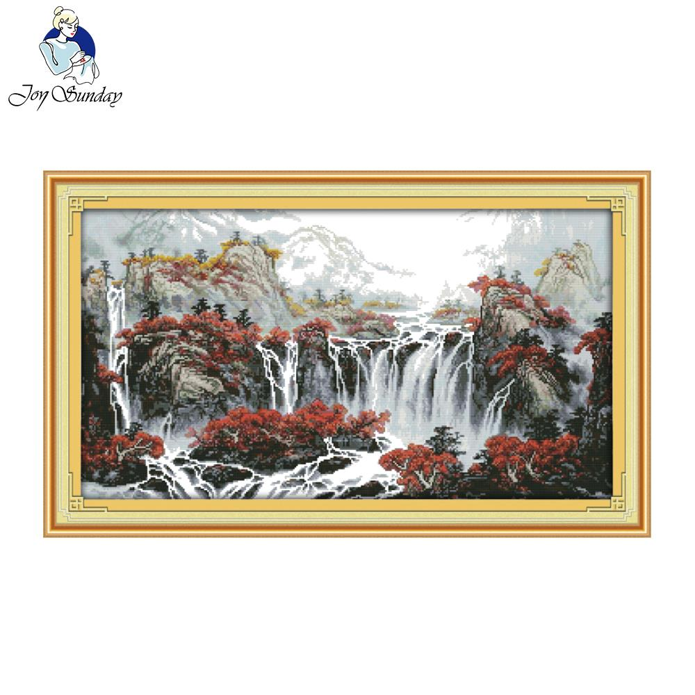 Joy Sunday Autumn Mountain Dengan Fountain Counted Cross Stitch Cross Stitch Kit For Embroidery Home Decor Needlework Cross Stitch