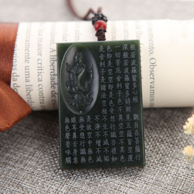 Image 2 - Drop Shipping XinJiang HeTian Jade Pendant Necklace Jade Buddhist Scriptures Lucky Amulet Necklace With Chain For Men Women GiftPendants   -