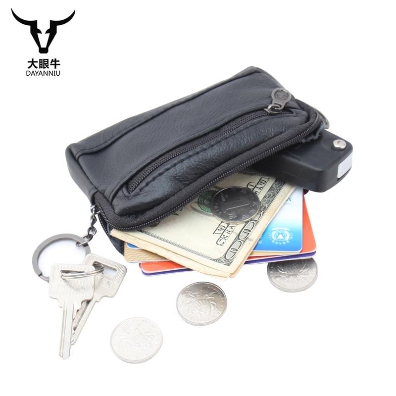Genuine Leather Key Holder Case Unisex Key Wallets Bag Solid Coin Purse Black Keychain Organizer Car Ring Leather Key Pouch portable car key chain ring keychain case coin holder zipped bag purse pouch