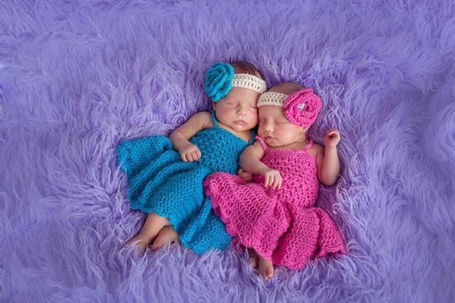 Newborn infant princess twins girl headband dress set baby photography prop handmade crochet knitted costume baby