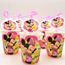 цена 20pcs/set Cartoon Minnie Mouse Party Supplies Children Party Decoration Party Cups Straws Favors Baby Shower