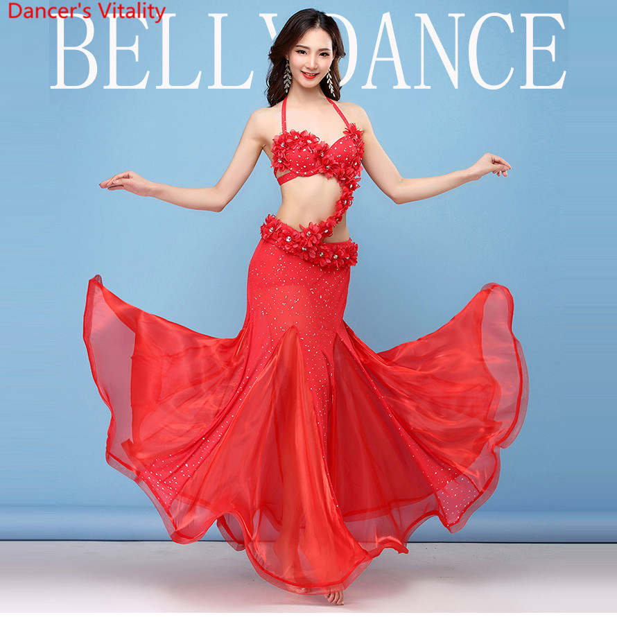 Red Women Dance Wear Oriental Style Flowers Maxi Skirts Sequined Belly Dance Costume 4pcs Set (Bra, Belt, Skirt And Sleeves)