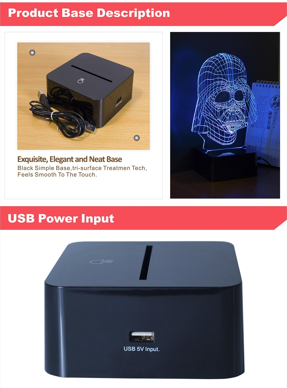 3D Visiual Darth Vader USB Led Night Light Star War Figure Touch Desk Table Lampara as Home Decor Lampe (5)