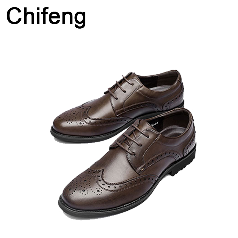 mens shoes genuine leather Round head business men's Formal footwear shoe 2017 spring autumn new bullock men dress wedding shoes top quality crocodile grain black oxfords mens dress shoes genuine leather business shoes mens formal wedding shoes