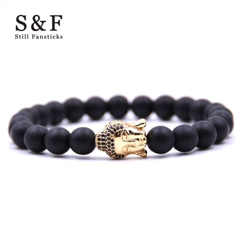 Copper Buda Bracelet Charms Bracelet Men Jewelry 8mm Braslet Black Stone Man Bracelets & Bangles Pulseira Masculina For Women