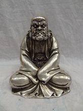 Chinese Silver Buddhism Joss Bronze Damo Bodhidharma Dharma Buddha Statue