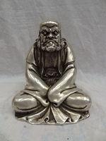 Elaborate Chinese White Copper Buddhism Joss Damo Bodhidharma Dharma Buddha Statue