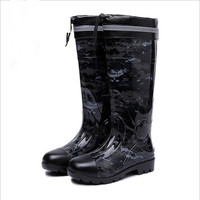 NEW PVC camouflage rubber low Heels Non slip men Rain Boots Mid calf Male water Rainboots shoes Waterproof work Water Shoes