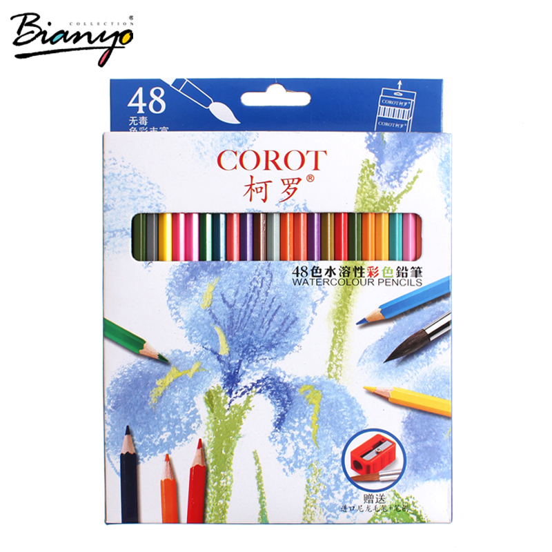 Bianyo 48Colors Safe Non-toxic Indonesia Lead Water Soluble Colored Pencil Watercolor Pencil Set For Write Drawing Art Supplies 12 24 36 48 72 colors non toxic indonesia lead water soluble colored pencil watercolor pencil set for write drawing art supplies