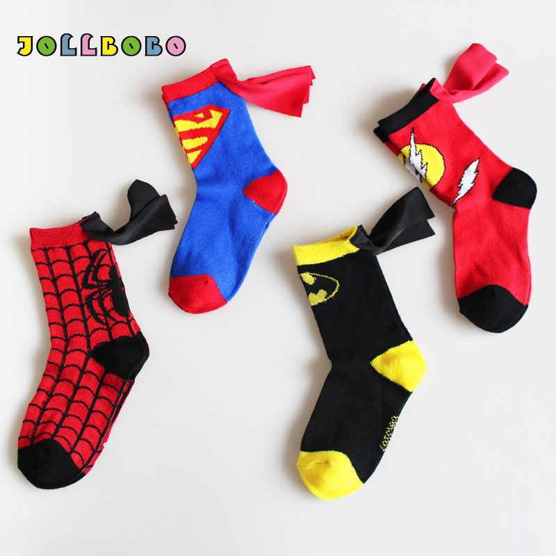 The Avengers Kids Funny Socks Superman Batman The Flash Boy Girl Cotton Cosplay Socks Wholesale Socks Cartoon For Children 3-6T