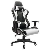 Homall Исполнительный Вертлюг кожа игр стул, гонки Стиль высокой спинкой стул офиса с поясничной Поддержка и подголовник (белый)
