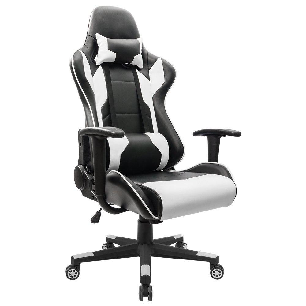 Homall Исполнительный поворотный кожа игр стул, гонки Стиль высокой спинкой стул офиса с поясничной Поддержка и подголовник (белый)