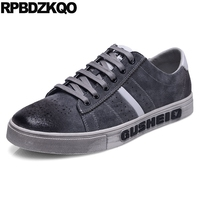 Men Shoes Casual Leather Round Toe Breathable Comfort Trainers Sneakers Platform New Skate Lace Up Flats