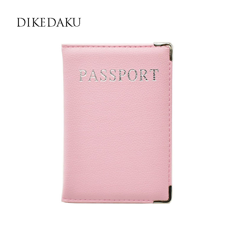 DIKEDAKU Fashion Leather Passport Cover Women Solid Transparent Passport Organizer Cute Travel Passport Case for Passport Wallet цена