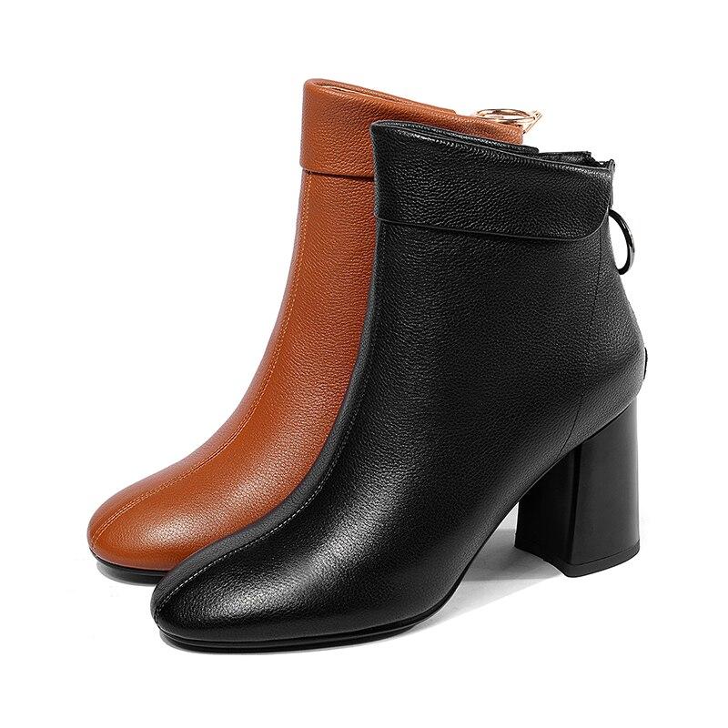 stivale quadrata caramello in nero pelle vera alto donna Wetkiss primavera 2019 stivaletti donna scarpe punta tacco Zip colore nuovo donna nero 7fFwqgY