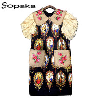 SOPAKA Sicilian Style Vintage Women Dress Black And Red Color High Quality Diamonds And Embroidery Accessories