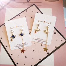 Korea Handmade Cartoon Planet Star Asymmetry Women Drop Earrings Dangle Fashion Jewelry Accessories-JQD5
