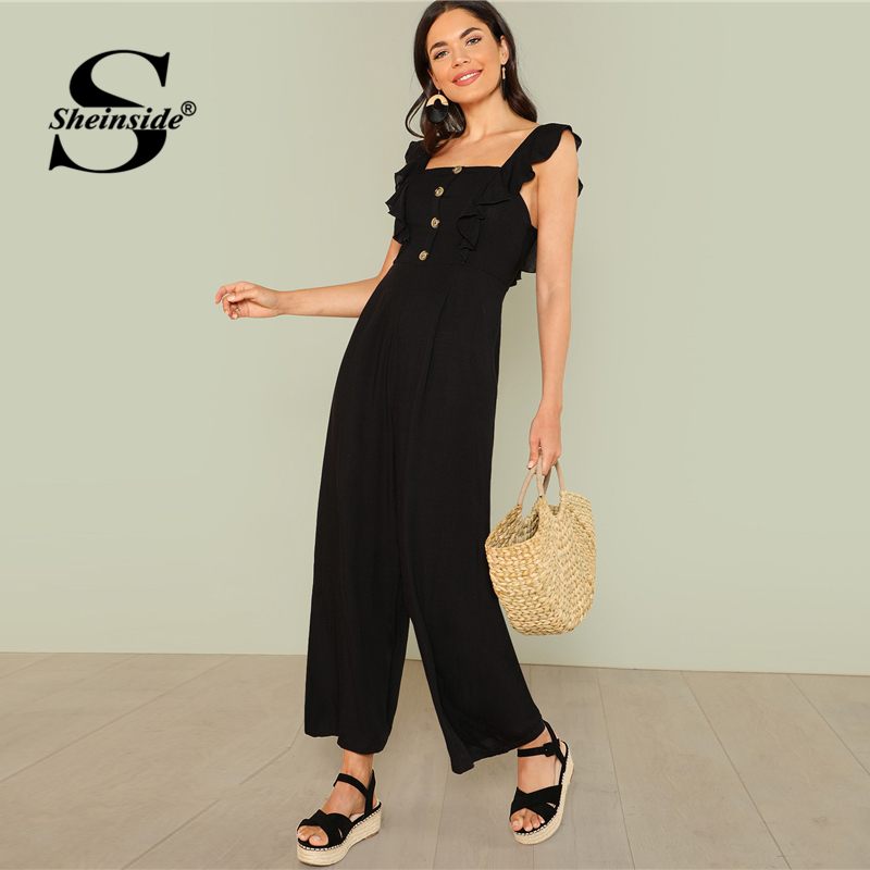 e9a922998cd Sheinside Black Ruffle Strap Wide Leg Jumpsuit Office Ladies Button Front  Square Neck Sleeveless Summer Women Elegant Jumpsuit-in Jumpsuits from  Women s ...